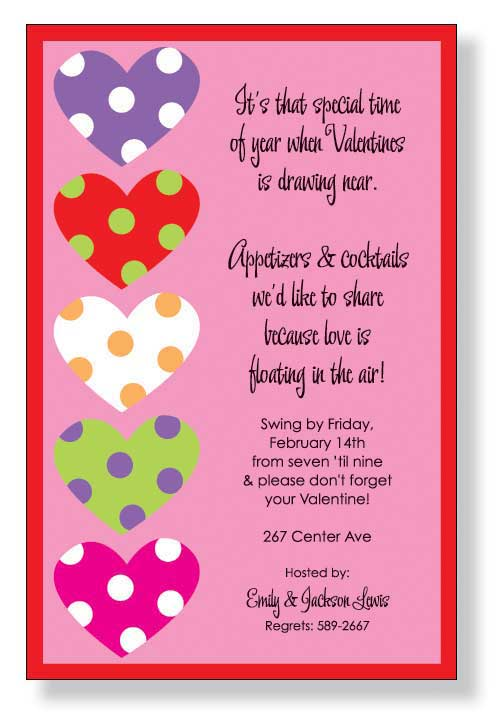 Heart Stack Invitation - A perfect invitation to send a valentine for your next sweet heart day!.   Use this fun invitation to announce your engagement or to gather your friends for a great Valentines day party.  Includes a white envelope.
