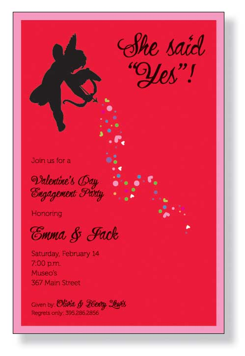 Little Cupid Invitation - Cupid has struck and you need to get the word out!  Send your Engagement announcements with this fun cupid themed invitation to celebrate that great joy or use it as a save the date!  Includes a white envelope.