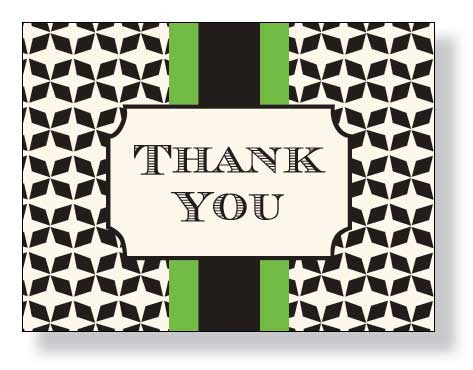 "Grand Green thank You Note Card  - A sophisticated style that is designed with a black design in the background and a green and black center band.  This note can come Blank or Pre printed with ""thank you"".  Please indicate if you need blank or thank you.  We will ship blank if ordered blank and did not leave comments."