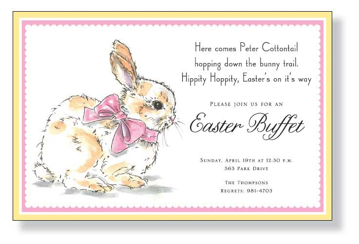 Sweet Bunny Invitation - A Sweet bunny invitations that is designed with a fuzzy bunny on the front with a pale pink bow.  A pink and yellow border completes this Easter invitation.  Includes a white envelope.
