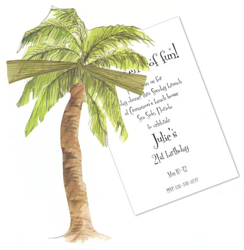 "Swaying in the Wind Die Cut Invitation - This Item is currently out of stock as of 10-22-14This fun invitation is designed as a die cut Palm tree that is attached to a seperate 3.5 x 5"" card that is for the personalization. Perfect for a destination wedding, or Tropical themed party.  Includes white envelope and a green raffia ribbon to attach the die cut to the card. Perfect for a destination wedding Save the date, or a luau hawaiian party.  Assembly required"