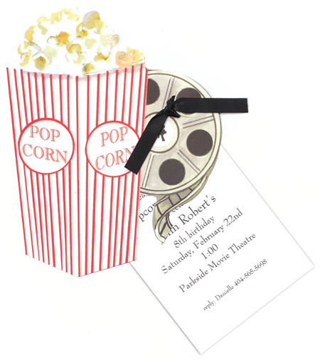 "Popcorn and a Movie Invitation - What a great Movie themed Invitation! This has a big tub of popcorn and a movie reel die-cut and  a seperate 3.5 x 5"" card that is for the personalization.  Includes white envelope and a black ribbon to attach the die cut to the card.  Assembly required."