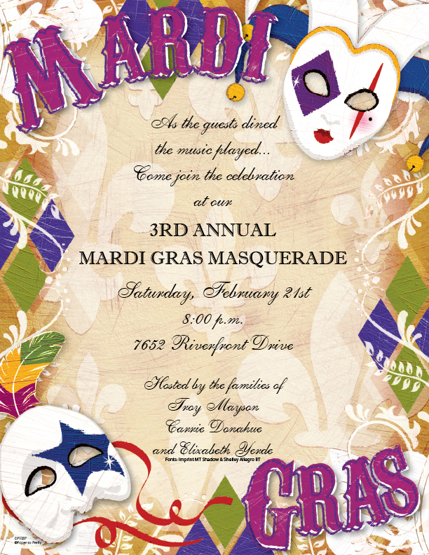 Mardi Gras Style Laser paper  - Everyone loves Mardi Gras!  Two colorful jester masks decorate this boldly colored laser paper.  The background is a soft fleur de lis print and MARDI GRAS is spelled out in festive purple.  Colored envelopes are sold separately.