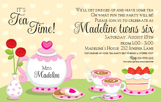 Tea Party Time Invitation - This fun tea party invitation is perfect ofr the little princess that would love to gather friends for some tea.   Designed with This invitation comes with a light yellow and white polka dot background and fun pink and white tea set that is topped with cookies and cake along with heaping tea cups!   Includes white envelopes.