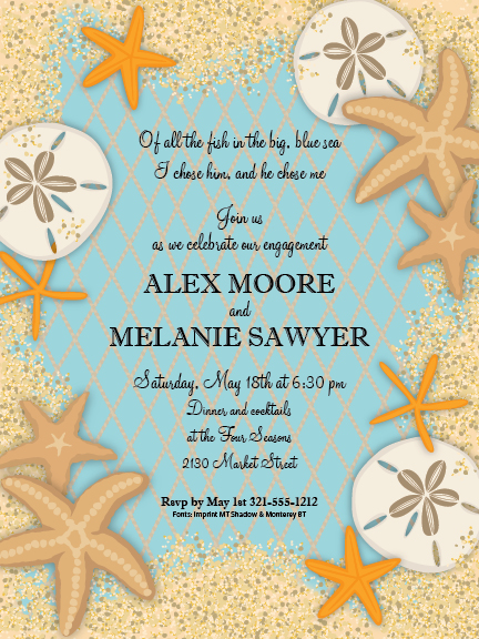 Sand Dollars and Starfish Digital Invitation - A beautiful invitation for a destination wedding or seaside engagement party theme.  This invitation is designed with a sand colored border and an arrangement of seashore favorites, such as sand dollars and sea stars.  Invitations include white envelopes.  Available personalized only.