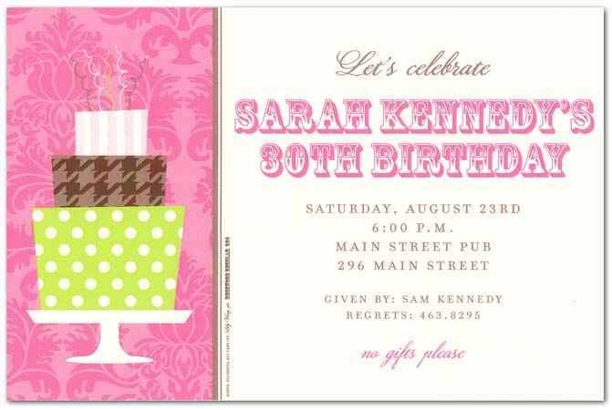 Her Cake Stack Invitation - Plan the perfect birthday party for her with this fun and sophisticated invitation.   Designed with a pink damask background band to the left and printed on a cream card stock this invitation will be a hit.  Includes a cream envelope.
