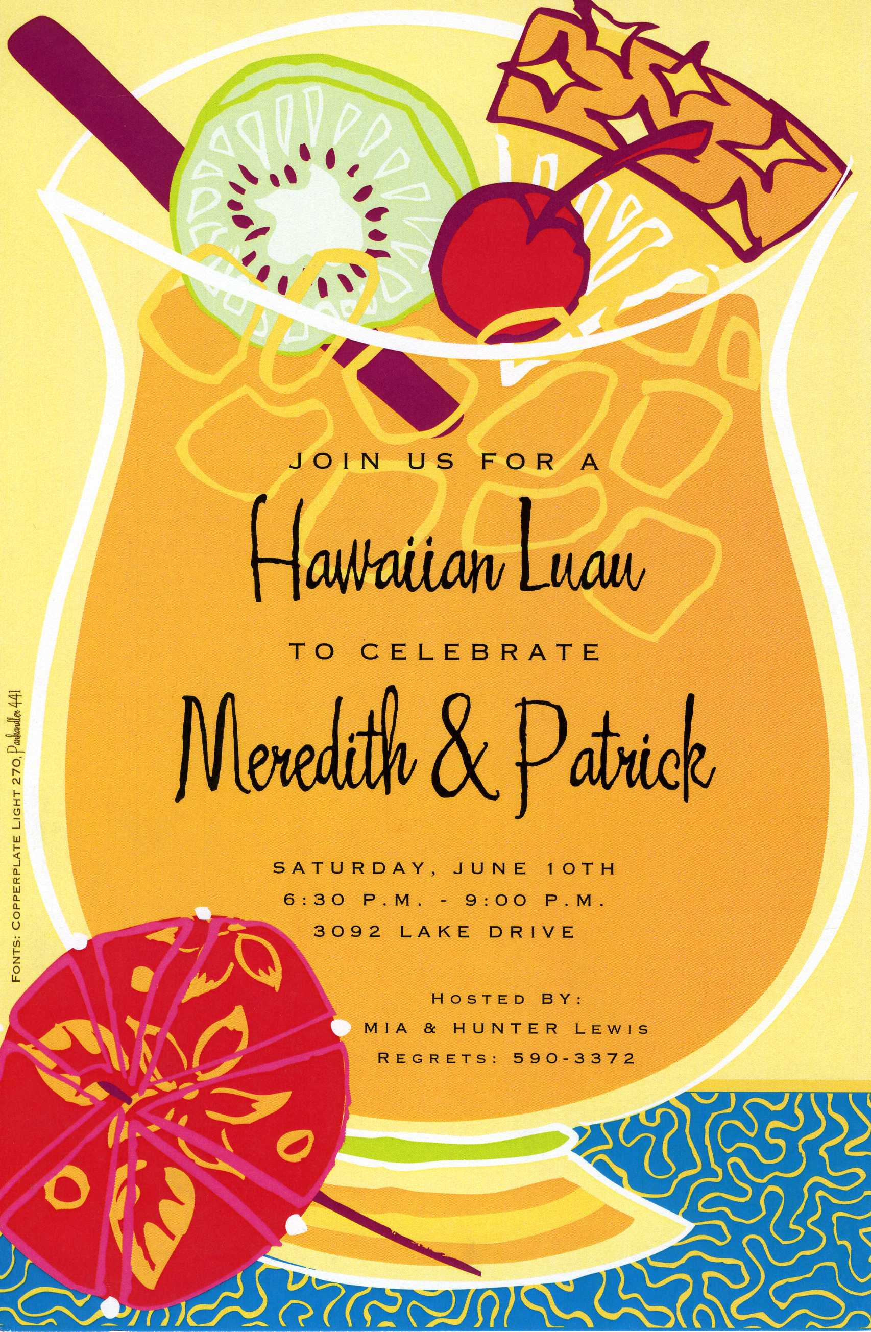 Tropical drink invitation a yellow background and a hawaiian drink