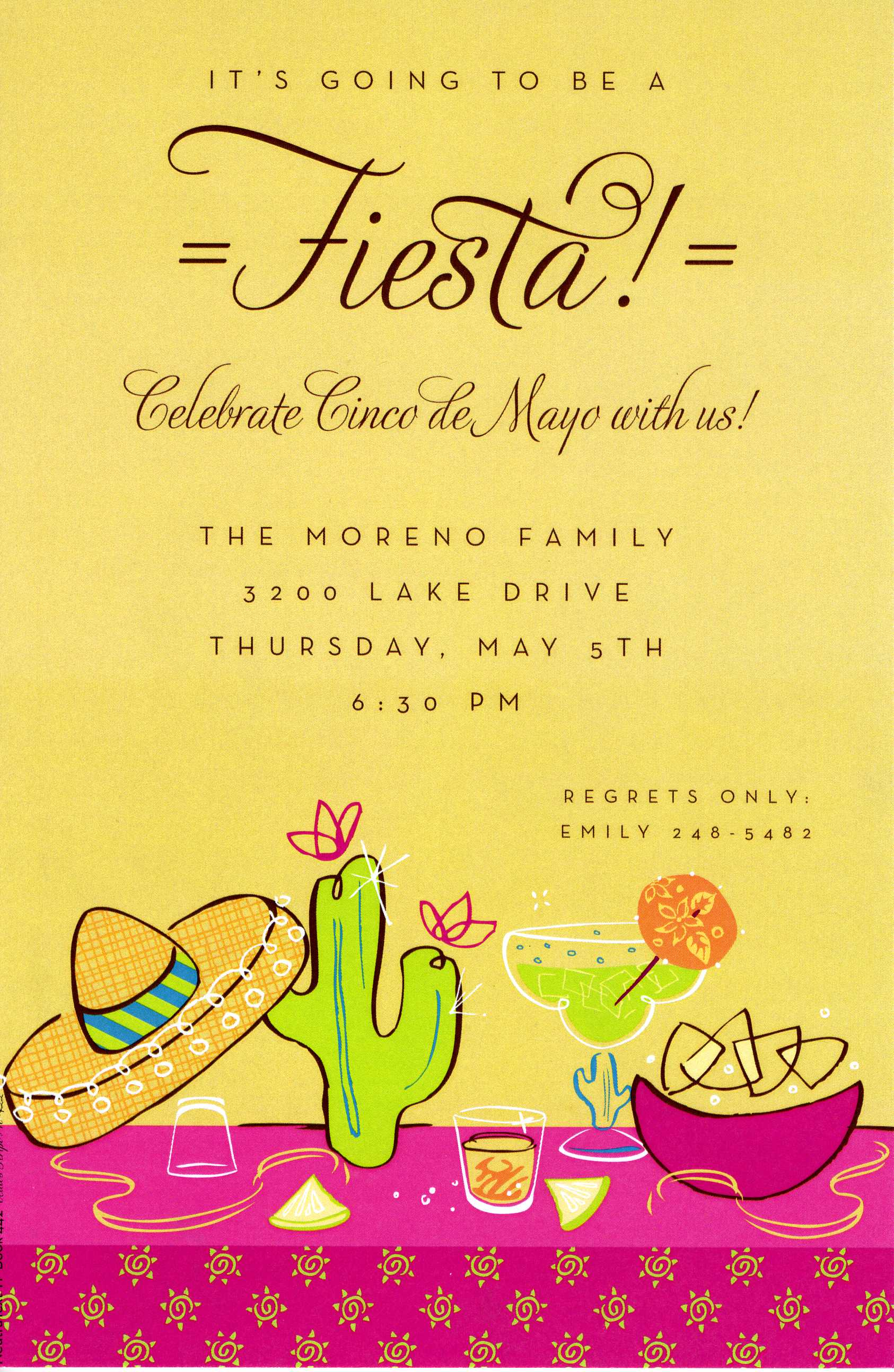 Fiesta Invitation - A bright yellow background accents a cactus, sombrero and margarita.  Perfect for Cinco de Mayo or any Fiesta!  Available blank or personalized.Includes a white envelope.