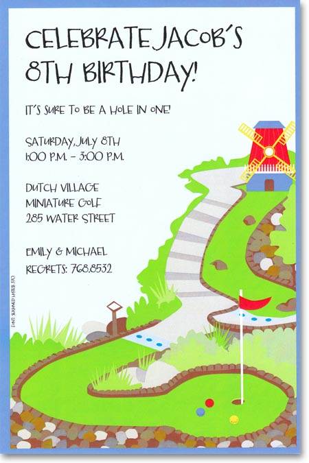 Mini Golf Invitation - A bright red windmill sits at the end of a bright green mini-golf course with a dark blue border.  Available blank or personalized. Includes white envelope.