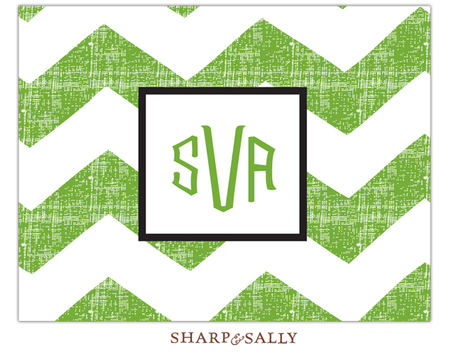 Green Chevron Note Card  - This green and white note card is a great way to send your thanks or just sending a note.  Designed with a green sticked lines and a black inner border for a monogram or name.  Includes a white envelope. Includes a white envelope.