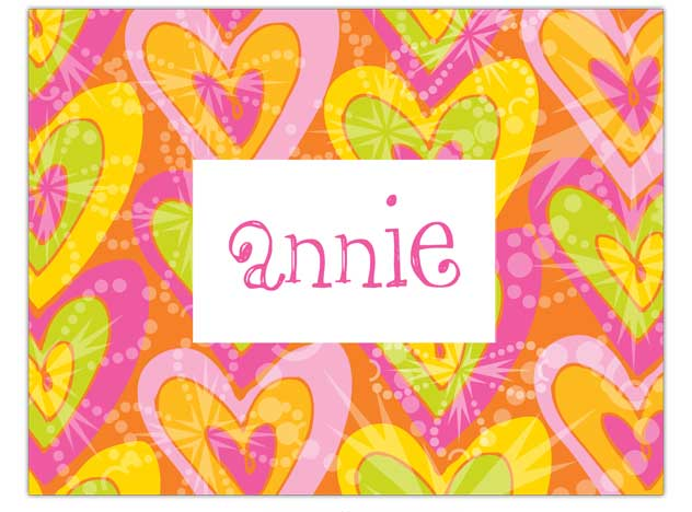 Heart Note Card  - Colorful heart design  created with pink, orange and lime to make a bold and fun message.   Can be used as a thank you or just writing a quick note for friends or family. Includes a white envelope.