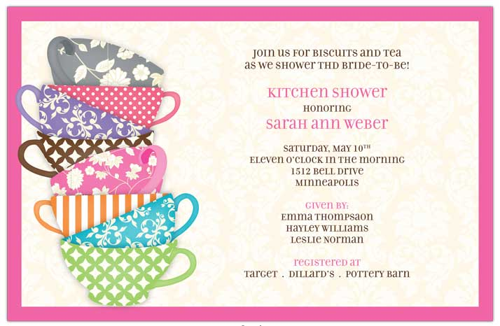 "Quick View - R-331120 - ""Pattern Tea Cups Invitations"""