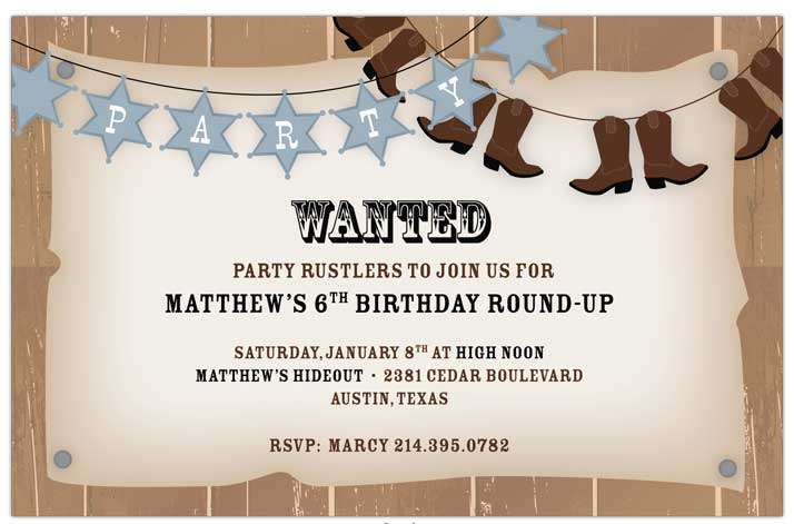 Howdy Invitation - Get ready for a western party! This invitation is decorated with banners of sheriff stars and cowboy boots against a wanted poster background. Great for birthdays and barbecues! Includes a white envelope.