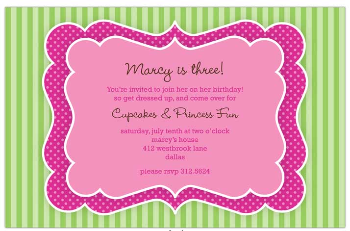 Quick View R 331136 Quot Pink And Green Frame Invitations Quot