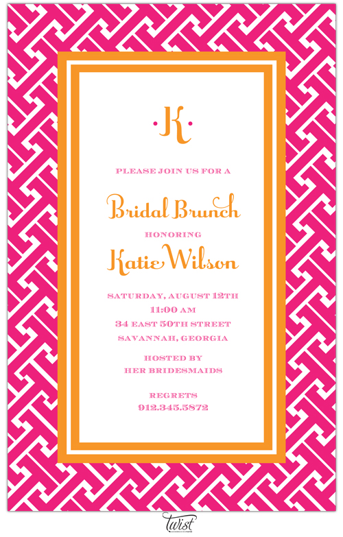 Interlock Pink and Orange Invitation - This versatile invitation features an orange double-line frame around the text area with a bright pink grid-like pattern around the border.  Perfect for any occasion! Includes a white envelope.