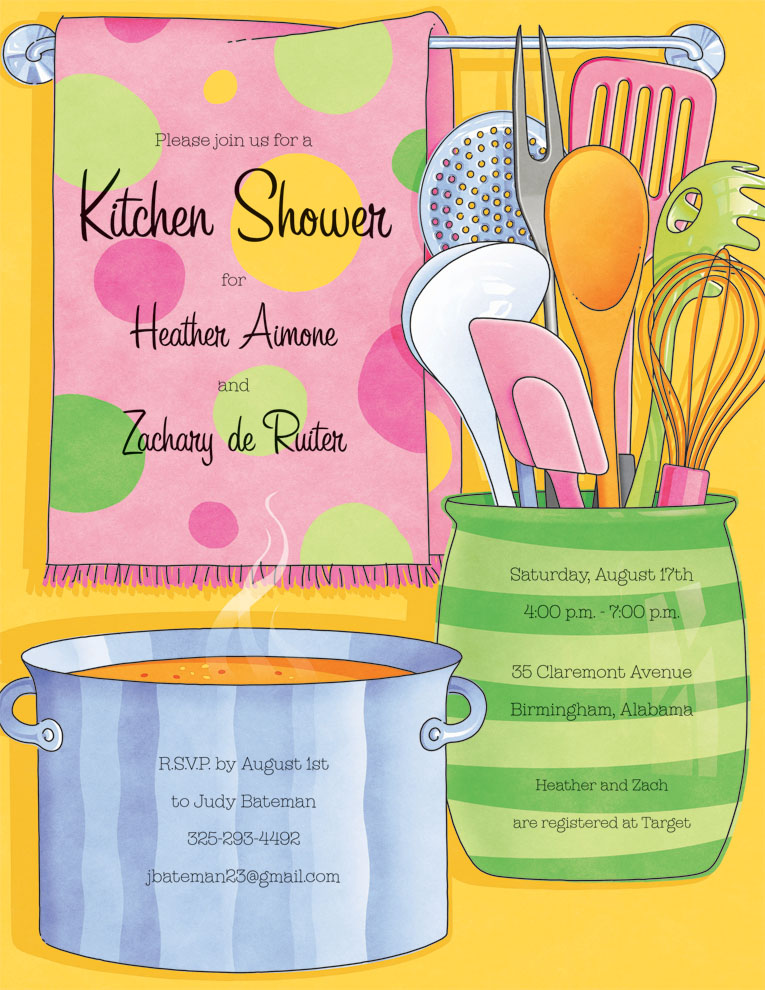 Kitchen Bliss Laser Paper  - DiscontinuedIf you are planning a couples shower or a cooking party, this is a great paper. Designed with a bright yellow background and kitchen utensils and polka dotted towel with a pot steaming in the kitchen. Colored envelopes are vailable but are sold seperately.