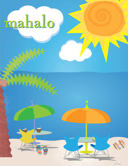 "Sunny Beach Note Card - This bright and fun beach themed note card shows a sunny island scene with beach chairs right on the sand, flip flops, and a palm tree.  The word ""mahalo"" can be personalized with one line of text. The inside is left blank for your personal message. Includes white envelope."