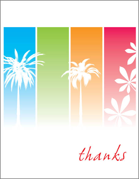 "Tropical Colors Note Card - This bright and fun tropical themed note card shows the silhouette of palm trees and tropical leaves against colored stripes.  The word ""thanks"" can be personalized with one line of text. The inside is left blank for your personal message. Includes white envelope."