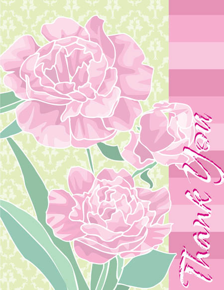 "Floral Carnation Note Card - This beautiful note card design is decorated pink carnations against a pale green damask background. The words ""Thank You"" can be personalized with one line of text. The inside is left blank for your personal message. Includes white envelope."