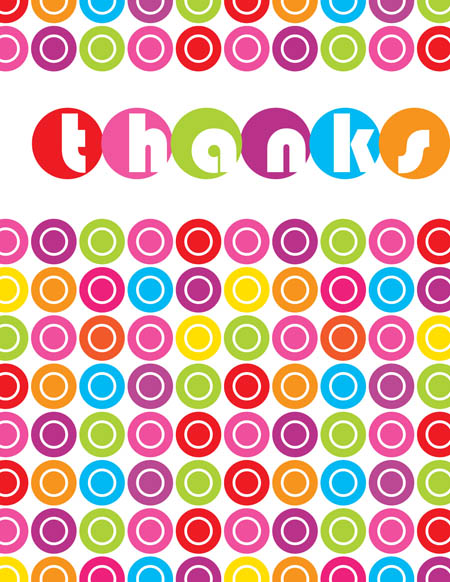 "Lots of Dots Note Card - This colorful note card design is decorated with different colored polka dots with the word ""thanks"" spelled out in larger polka dots. It can be personalized with one line of text. The inside is left blank for your personal message. Includes white envelope."