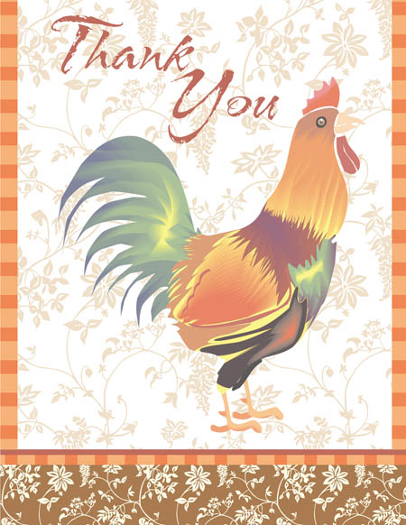 "Rooster Thank You Note Card - This elegant rooster themed note card shows a rooster against a pale floral background with an orange and brown border.  The words ""Thank You"" can be personalized with one line of text such as a name. The inside is left blank for your personal message. Includes white envelope."