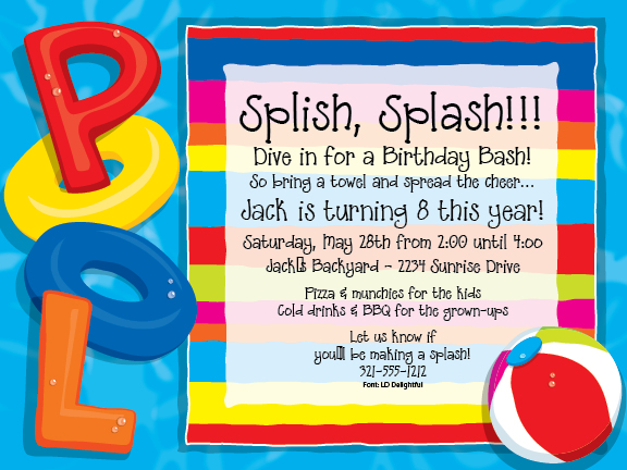 Quick View Piv1061 Party At The Pool Invitations