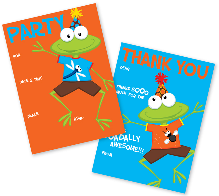 Frogs Fill In Invitation with Coordinating Thank you - A party frog is what you need to send your birthday news! This fun bold invitation and thank you set has a green party frog on the front and all you need to do is fill out your party information and you set.  with coordinating thank you cards this makes the party planning smooth and easy! Includes both invitation and thank you with coordinating envelopes.