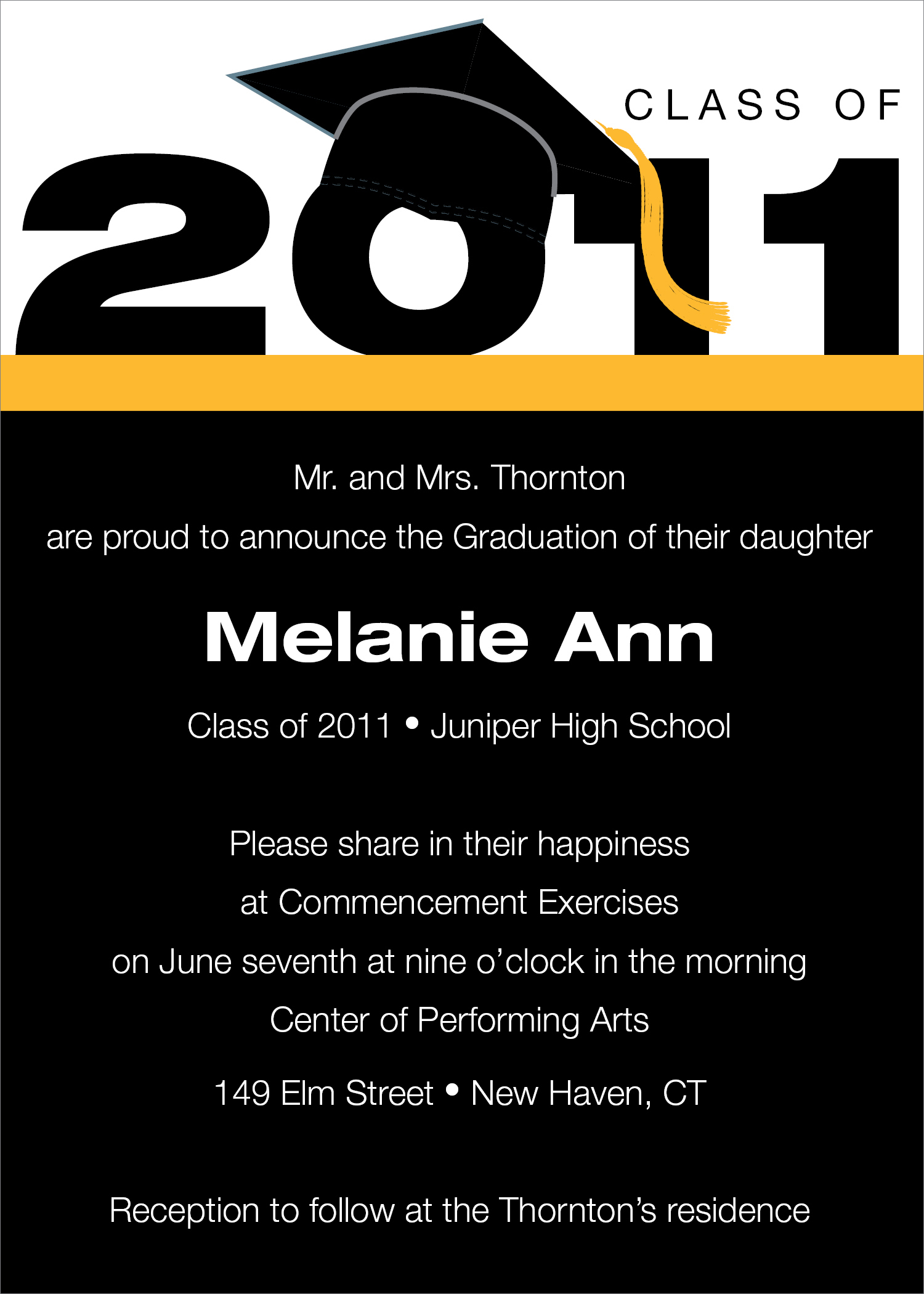 Quick View NOTID164 2011 Cap and Tassel Black and Gold – Graduation Invitations Templates 2011