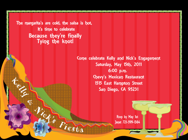Fiesta Sombrero Invitation - Its time to Fiesta!   A great way to celebrate Cinco De Mayo, an engagement party or just to call all of your friends together.  This bold invitation can be personalized for any special fiesta.  The sombrero can be personalized with any wording you need and this gives a unique way to present your special occasion.  Designed with two frosty margaritas and a serape draped along a sombrero.  Includes white envelopes.