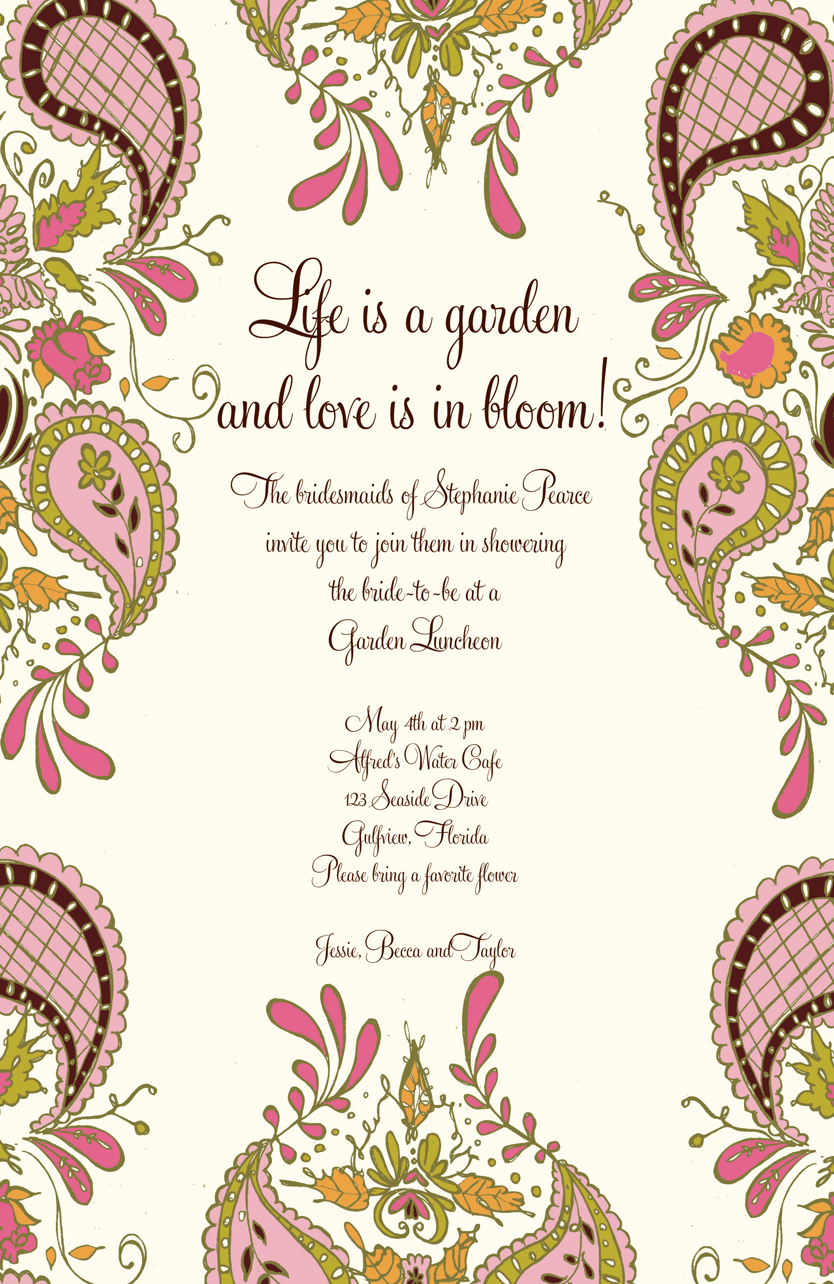 Bloom Invitation - This beautiful invitation is created with a soft pastel print around the border and a large center area for your personalization.  What an elegant way to announce your birthday or bridal shower! Envelopes are included.Includes a coordinating envelope.