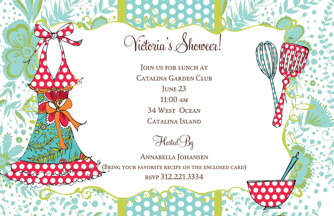 Delish Dish Invitation - A wedding shower is being set and what better way to stock the new couple for their life together but a recipe party.  This invitation is created with a unique floral background mixed with polka dots and a funky and feminine apron on one side and cooking utensils on the other.  Perfect to use for a cooking party, a wedding shower, a house warming party.  Includes a coordinating envelope.