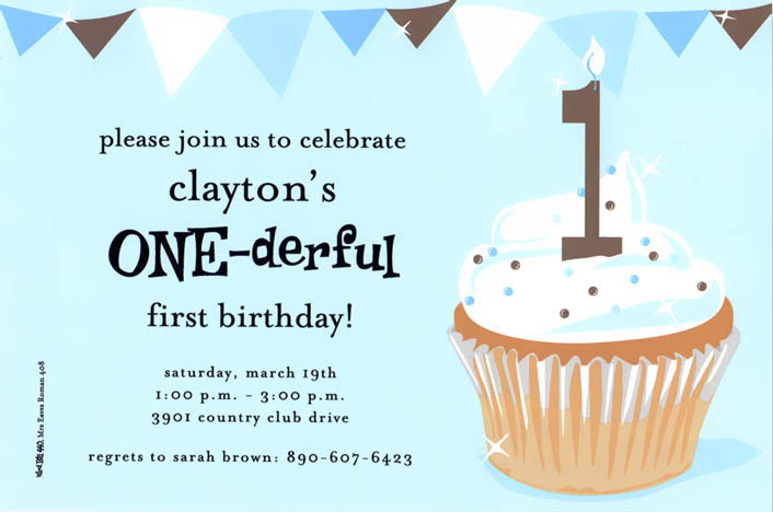 One-derful Boy Invitation - This baby-blue invitation has a yummy cupcake with 1 candle, and fun banner border along the top.  Available blank or personalized.  Includes white envelope.