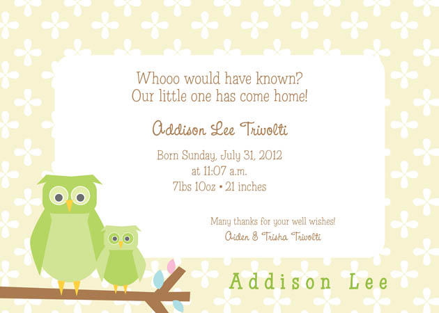 Baby Owl Invitation - This adorable baby themed invitation is digitally printed and decorated with a parent and baby owl sitting on a tree branch against a soft floral background. All of the wording can be personalized, and a name added to the lower corner of the invitation as shown on the sample. Includes white envelopes.