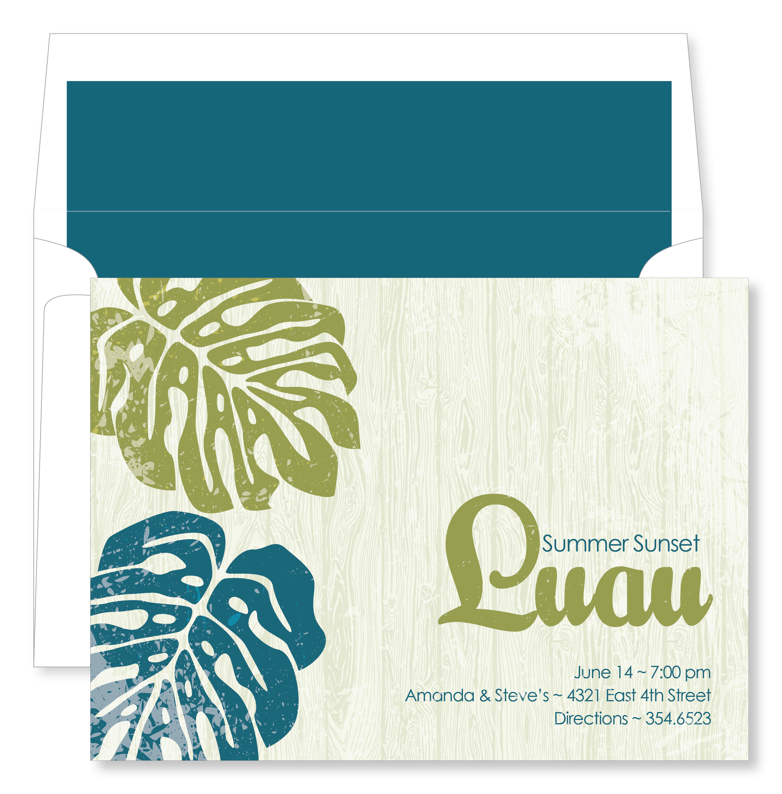 Quick view not id 1085 luau palms bright teal and crete luau palms bright teal and crete invitation with liner this luau invitation is perfect stopboris Images