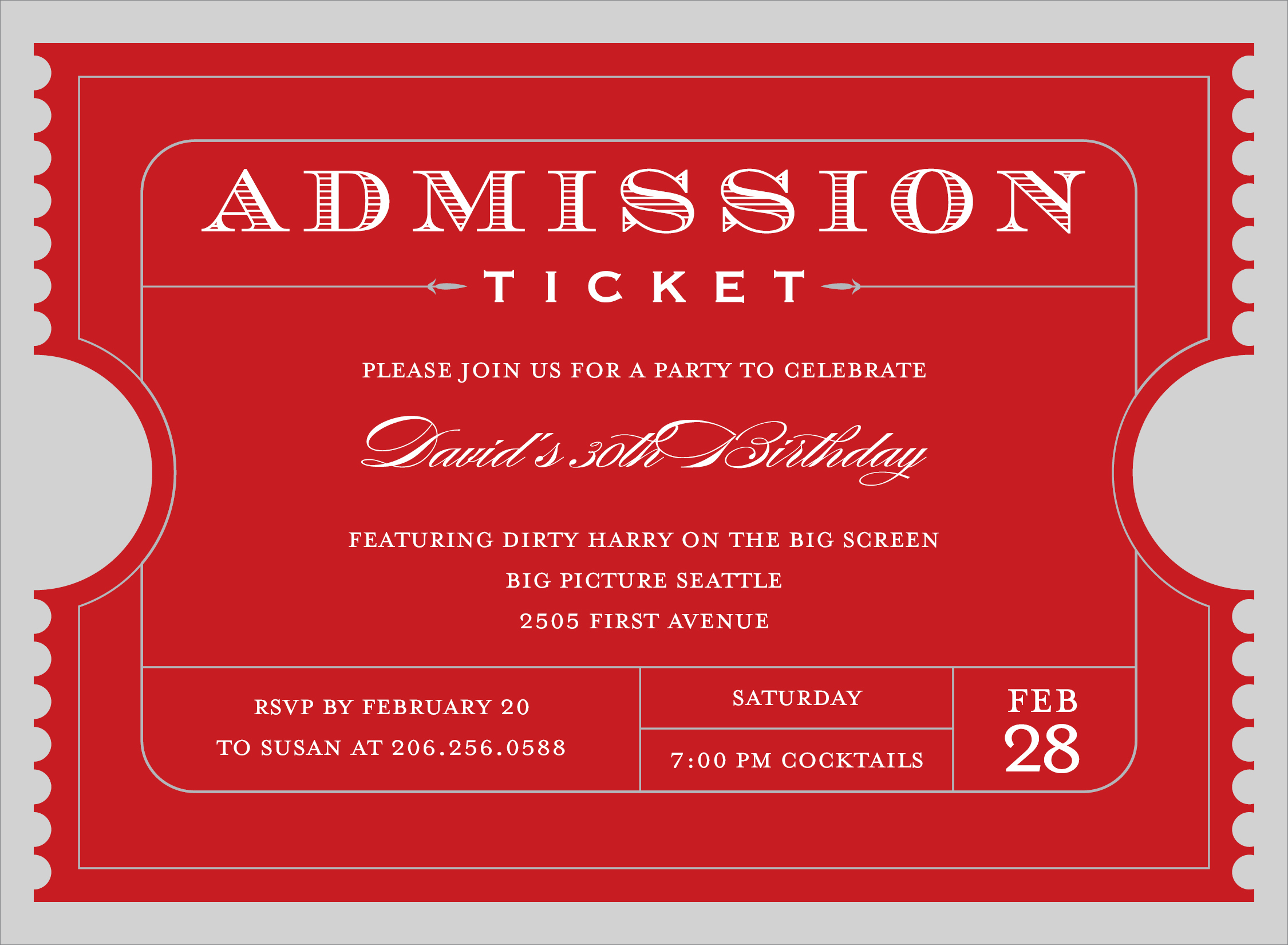 Admission Ticket Red Invitation - This Admission Ticket is a fun and ...