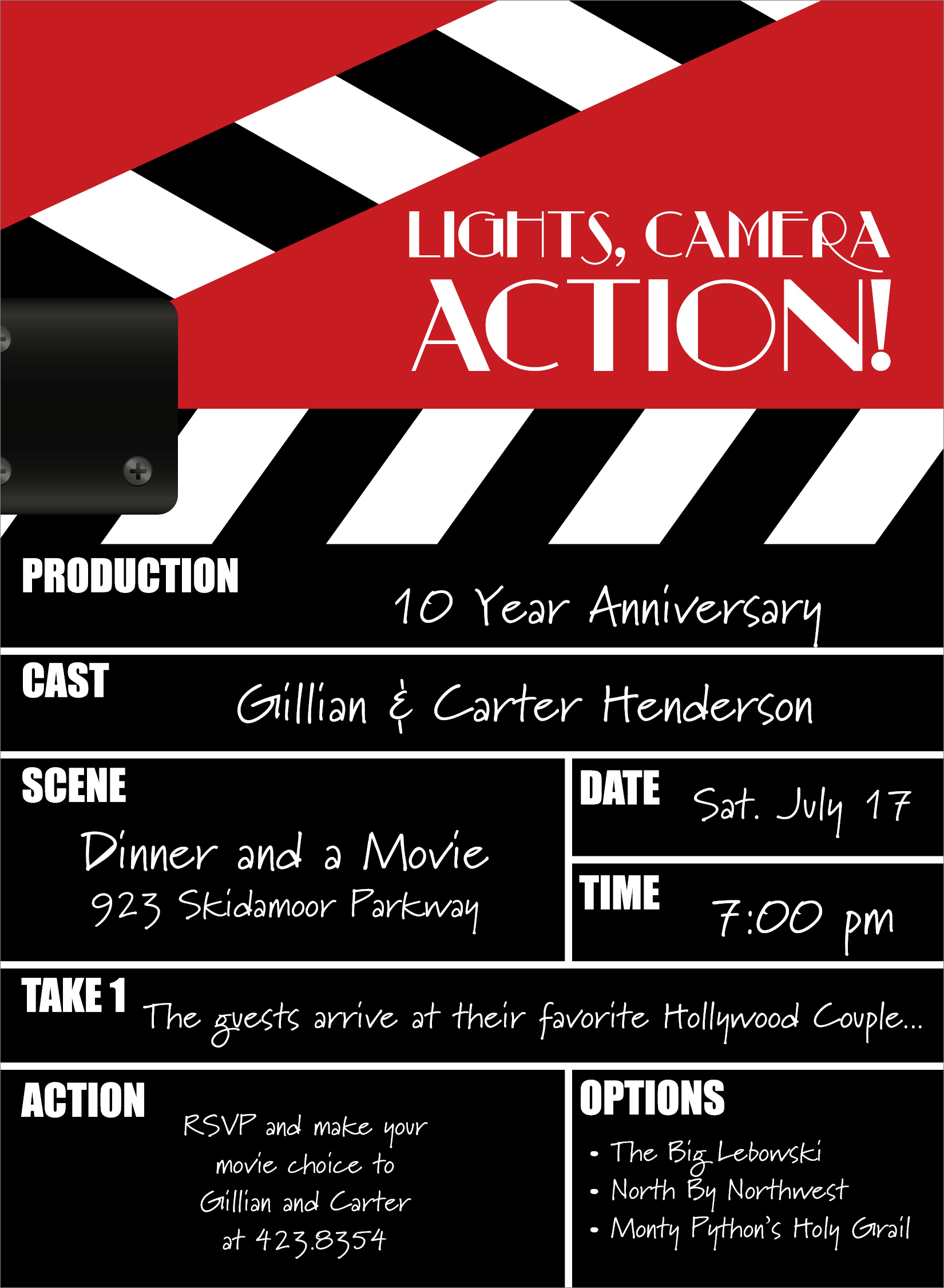 Quick view not id 1124 movie clapper invitation for Film premiere invitation template