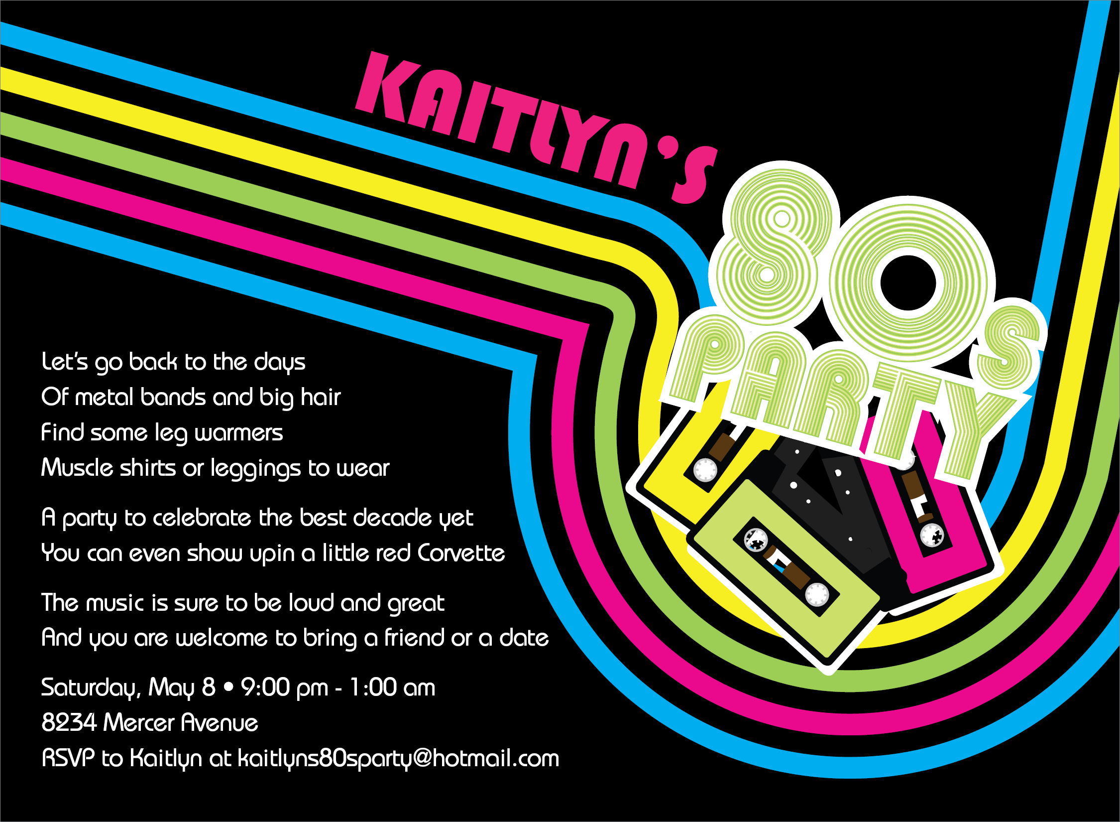 Quick view id 1137 80s party invitation 80s party invitation remember the 80s cassette tapes and rainbow colors which are stopboris Images