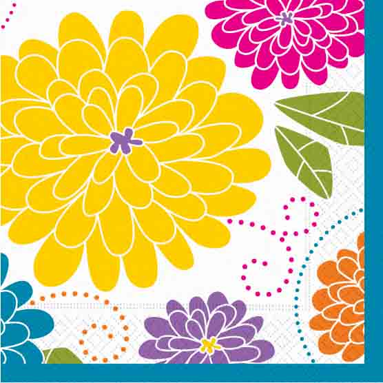 Rhapsody-Mix color Luncheon Napkin - A beautiful floral print of bright colors that are sure to create the perfect setting for your event. Coordinating pieces available.