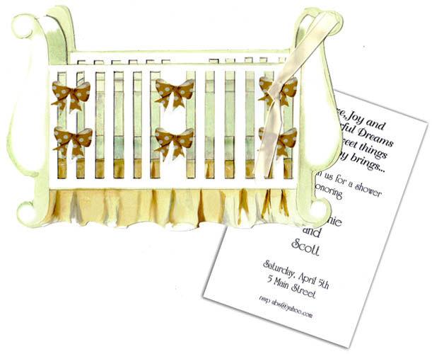 Baby Crib Die Cut with Tag - An elegant way to send your baby announcement or a baby shower invitation.  This unique Sleigh crib is perfectly decorated in a polka dot print with cream tones and nuetral golden brown.  Perfect for a baby boy or girl shower.   Comes with white envelopes. Glitter  is available for this card for an added .50 per card. If you would like glitter added to a personalized order please make note in the comments.  If glitter is requested for blank orders, a glitter pouch will be sent and assembly is required.