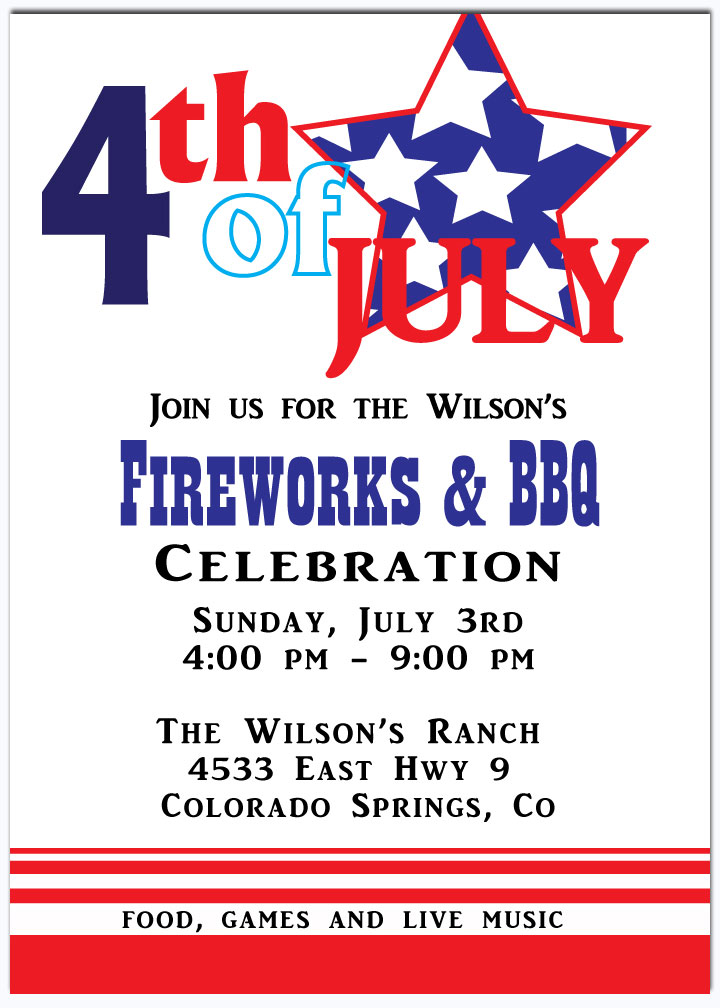 Fourth of July Stars Invitation - This patriotic invitation is perfect for the family get together on this fourth of july or a fireworks viewing for any company party.  Bring your indepence day party alive with this bright invitation.   This invitation Includes a white envelope.