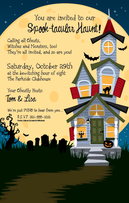 Haunted House Invitation - This Spook-tacular invitation is decorated with a very creepy haunted house. In the background, you can see a full moon, a twisted tree, a graveyard, and bats flying through the night sky. A great way to invite guests over to your own haunted house for a Halloween party! Premium quality cardstock is inkjet/laser compatible and available blank or personalized.  Includes white envelope.