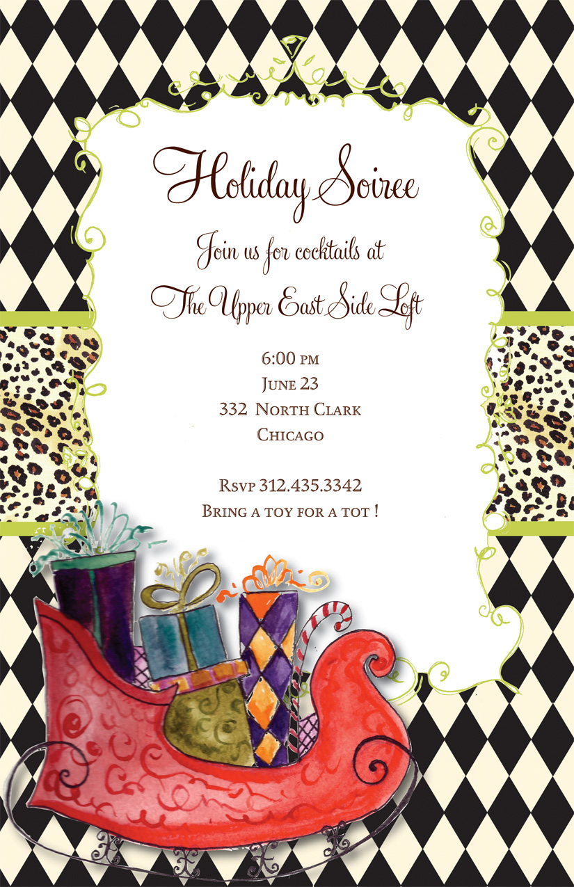 Sleigh Ride Invitation - Celebrate the holidays with a gift exchange and this funky Christmas invitation! It shows Santas red sleigh piled high with gifts against a black and white diamond background with leopard trim in the center. Glitter upgrade available for an additional $0.30 per card. Printed on textured white cardstock and includes coordinating colored envelope.