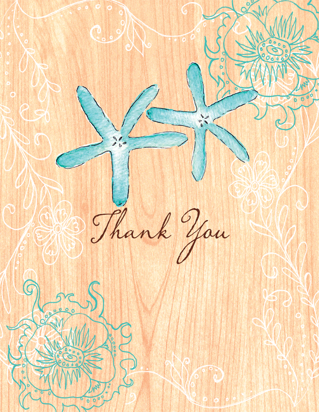 Beachy Keen Thank You Note Card  - This lovely beach themed note card shows two starfish against a peach wood grain background with blue floral accents. Its the perfect way to say thank you for a beach themed wedding or anniversary. Glitter upgrade available for an additional $0.30 per card. Printed on cream textured card stock and includes a coordinating envelope.