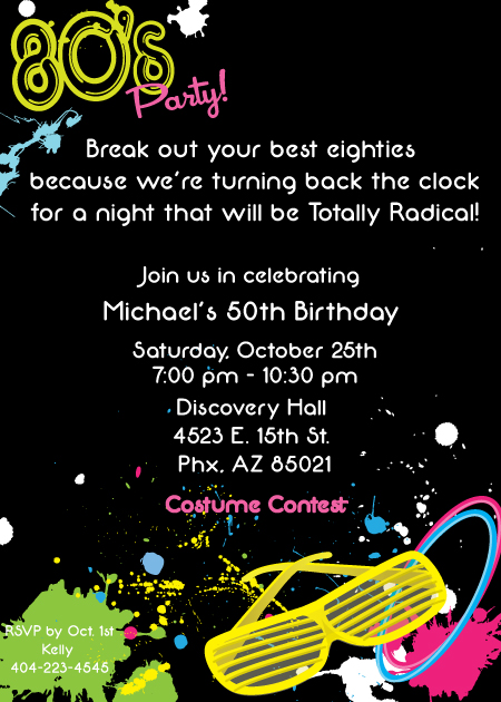 80S Party Invitation Wording is amazing invitations template