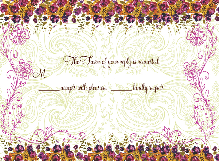 Rose Garden Response Card - This lovely floral reply card is decorated with a violet floral border against a pale green paisley background. It is a perfect as an RSVP card or insert to coordinate with your invitation. Be sure to indicate ALL of your desired wording when ordering personalized, as well as your Reply Address (FREE when ordering personalized). Glitter upgrade available for an additional $0.30 per card. Printed on cream textured card stock and includes coordinating envelope.