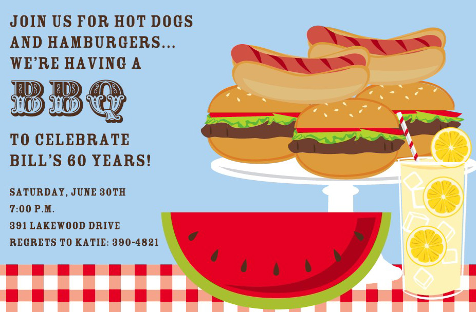 BBQ Table Invitation - This fun and colorful invitation features everything you need for a summer BBQ!  Yummy hot dogs and hamburgers are stacked next to bright red watermelon and a cool glass of lemonade.  Available either blank or personalized.  Includes white envelope.