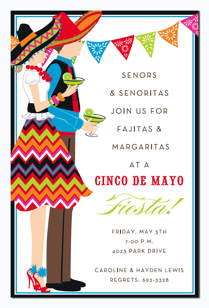 Fiesta Duo Invitation - This fun and colorful invitation features a man and woman in full fiesta attire, complete with sombreros and margaritas!  Perfect for your next Fiesta or Cinco de Mayo party! Available either blank or personalized.  Includes white envelope.