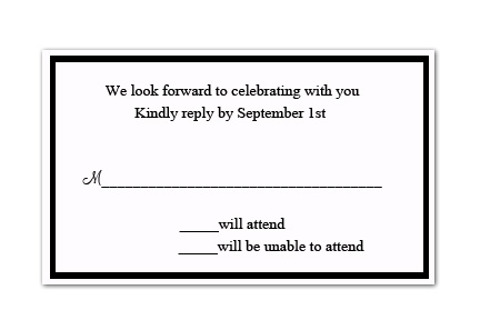 "Petite White Response Card  - Classic and elegant, white reply card that includes white envelope.  Card dimensions are 3.25"" X 4.75"".  When ordering personalized, you can chose the color of the border and we will print your return address on the front of the envelope.  Please specify below your personalization and what color you would like.  If no color is specified we will print wording only.  Please indicate exact return address information."