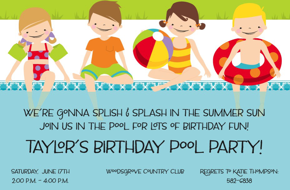 Poolside Kids Invitation - This adorable invitation features four kids at poolside, dressed in cute bathing suits with brightly colored pool toys.  Perfect for your summer pool party! Available either blank or personalized.  Includes white envelope.
