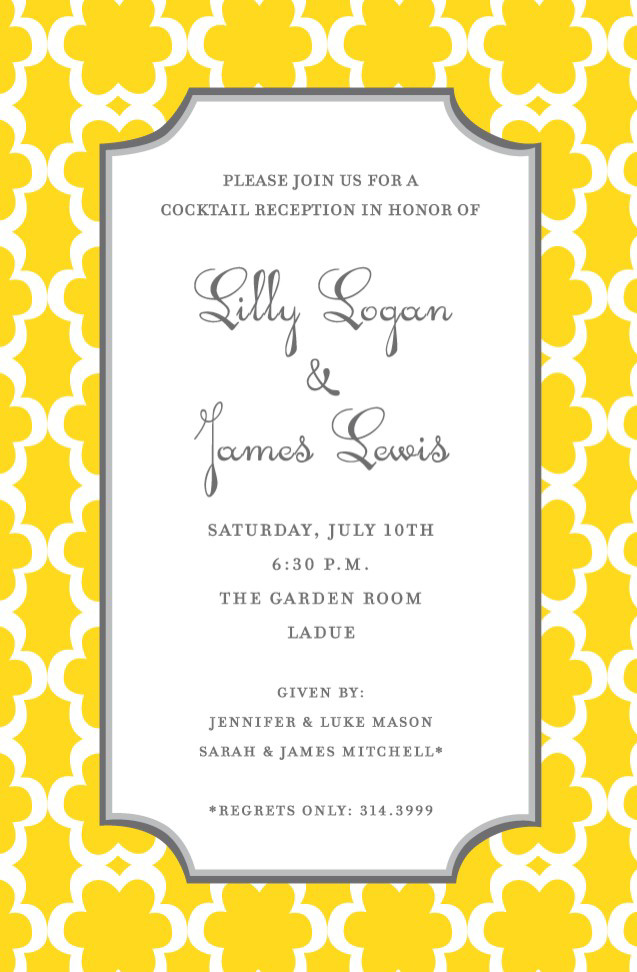 Golden Bloom Invitation - This cheerful invitation features a bright yellow and white patterned border, with a large text area framed with a thin grey double-striped border. Perfect for a cocktail party or rehearsal dinner! Available either blank or personalized.  Includes white envelope.